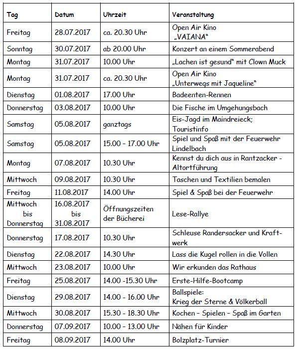 Das Sommer-Ferien-Programm 2017 - Überblick