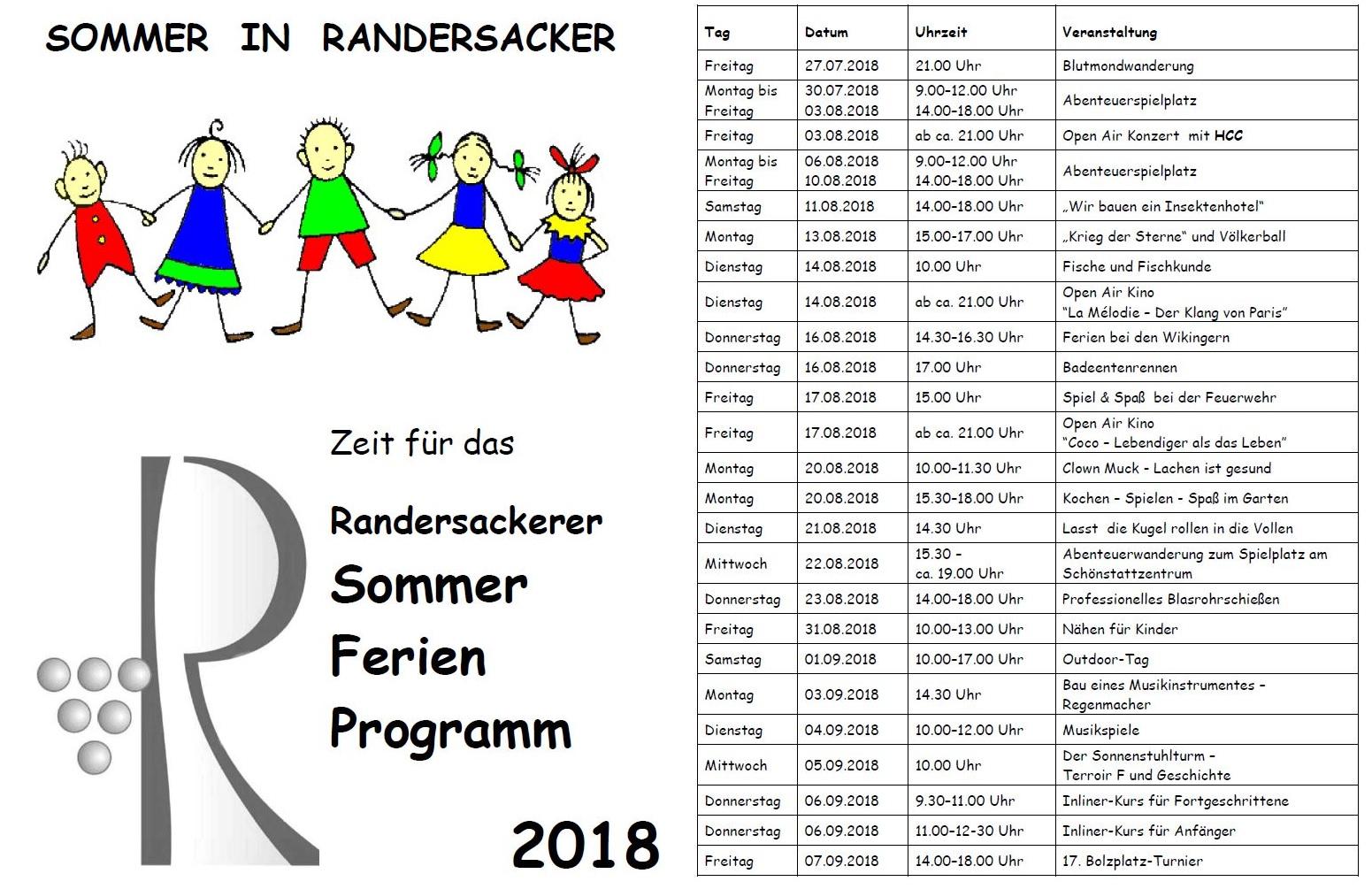 Sommer-Ferien-Programm 2018